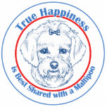 "True Happiness with a Maltipoo Statuette<br><div class=""desc"">It shouldn&#39;t be a surprise if some of your happiest memories include the family dog! This design features original Maltipoo art in shades of blue surrounded by the words &quot;True Happiness is Best Shared with a Maltipoo&quot;. A perfect design available on a variety of gift and apparel items for those...</div>"