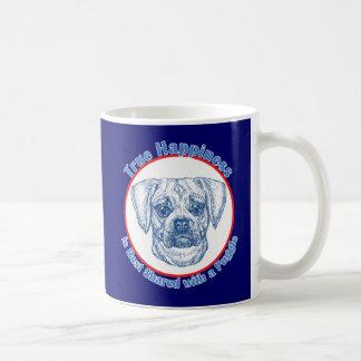True Happiness with a Puggle Classic White Coffee Mug