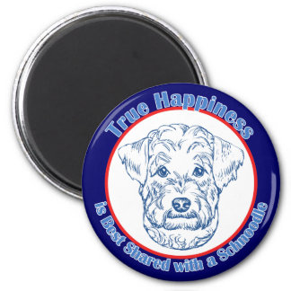 True Happiness with a Schnoodle 2 Inch Round Magnet