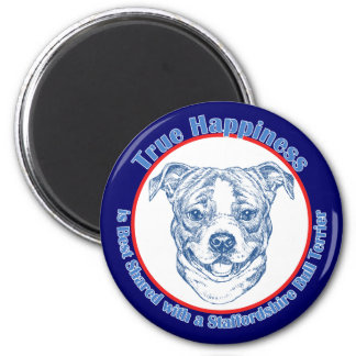 True Happiness with a Staffordshire Bull Terrier 2 Inch Round Magnet