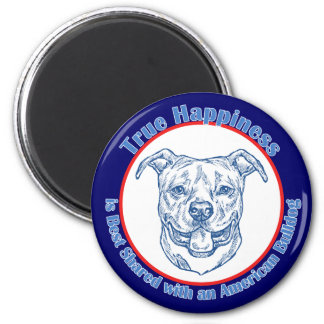 True Happiness with an American Bulldog 2 Inch Round Magnet