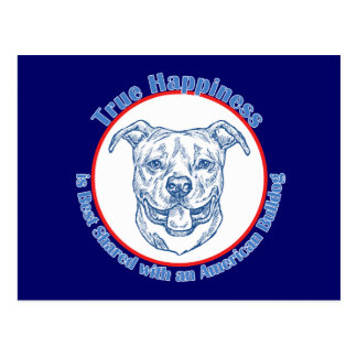 True Happiness with an American Bulldog Postcard