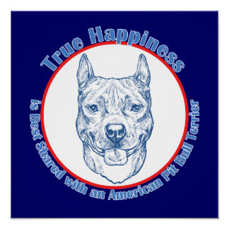 True Happiness with an American Pit Bull Terrier Poster