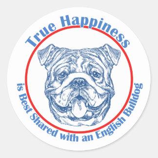True Happiness with an English Bulldog Classic Round Sticker