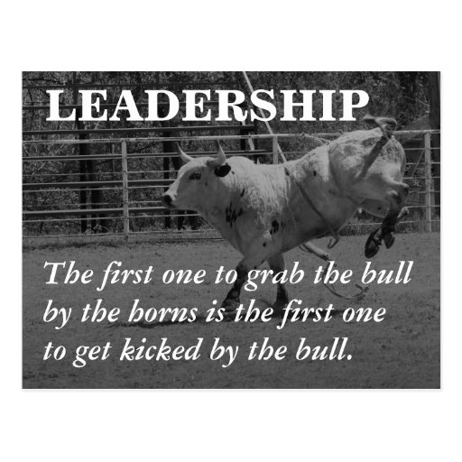 True leaders seize the bull by the horns post card
