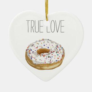True Love Artsy Cutout Iced Ring Doughnut Ceramic Ornament