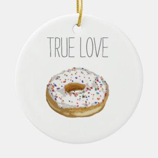 True Love Artsy Cutout Iced Ring Doughnut Double-Sided Ceramic Round Christmas Ornament