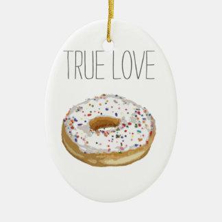 True Love Artsy Cutout Iced Ring Doughnut Double-Sided Oval Ceramic Christmas Ornament