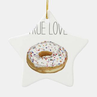 True Love Artsy Cutout Iced Ring Doughnut Double-Sided Star Ceramic Christmas Ornament