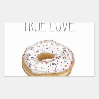 True Love Artsy Cutout Iced Ring Doughnut Rectangular Sticker