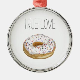 True Love Artsy Cutout Iced Ring Doughnut Round Metal Christmas Ornament