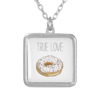 True Love Artsy Cutout Iced Ring Doughnut Silver Plated Necklace