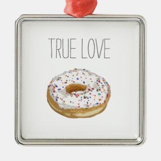True Love Artsy Cutout Iced Ring Doughnut Square Metal Christmas Ornament