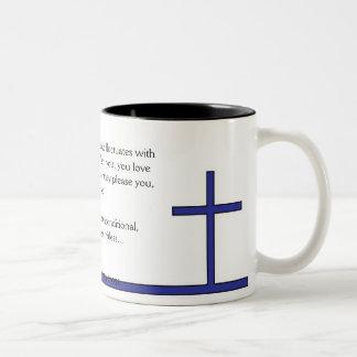 True Love (blue) Two-Tone Coffee Mug