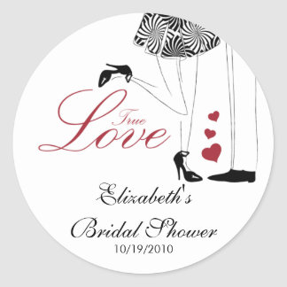 True Love Couple Bridal Shower Sticker