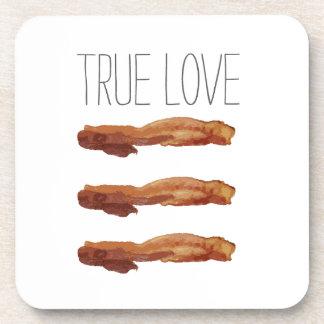 True Love Cut Out Streaky Bacon Artsy Beverage Coaster