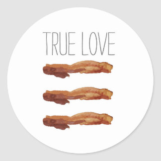 True Love Cut Out Streaky Bacon Artsy Classic Round Sticker