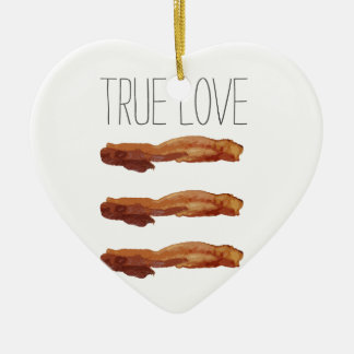 True Love Cut Out Streaky Bacon Artsy Double-Sided Heart Ceramic Christmas Ornament