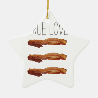 True Love Cut Out Streaky Bacon Artsy Double-Sided Star Ceramic Christmas Ornament