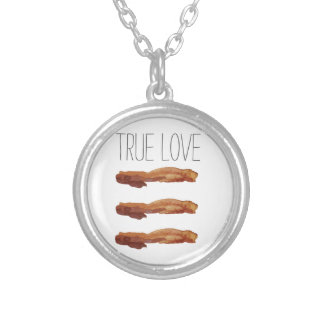 True Love Cut Out Streaky Bacon Artsy Silver Plated Necklace