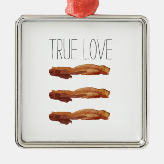 True Love Cut Out Streaky Bacon Artsy Square Metal Christmas Ornament