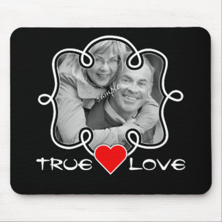 True Love Doodle Frame Couple Photo and Heart Mouse Pad