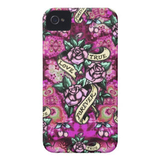 True Love Forever Psychedelic roses and banners Case-Mate iPhone 4 Case