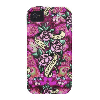 True Love Forever Psychedelic roses and banners iPhone 4/4S Covers
