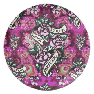 True Love Forever Psychedelic roses and banners. Melamine Plate