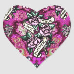 True Love Forever Psychedelic roses and banners. Heart Sticker