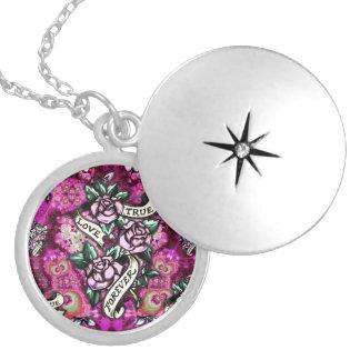 True Love Forever Rockabilly Roses pattern. Locket Necklace