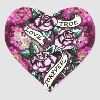 True Love Forever Rockabilly Roses pattern. Stickers