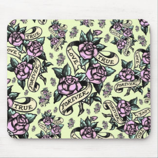 True Love Forever  Tattoo Style art in yellow. Mouse Pad