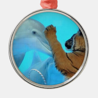 True Love: Friendship: Dolphin and Tiger meet. Round Metal Christmas Ornament