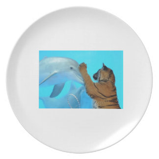 True Love: Friendship: Dolphin and Tiger meet. Party Plates
