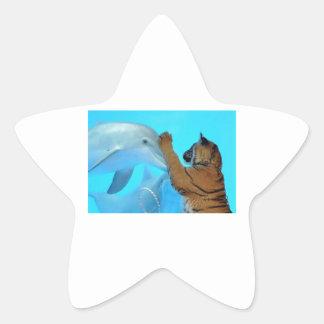 True Love: Friendship: Dolphin and Tiger meet. Star Sticker