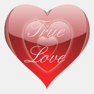 """""""True Love - 'Glowing' Red Heart Trio"""" Heart Sticker"""