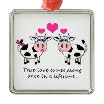 True Love Happy Cows Ornament