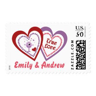 True Love Hearts Purple Red Valentine Postage