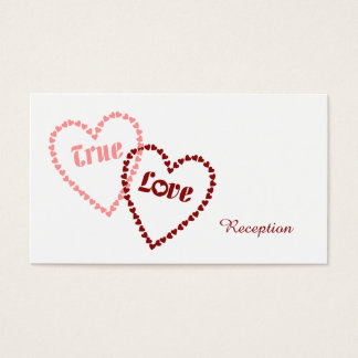 True Love Hearts Wedding Reception Business Card