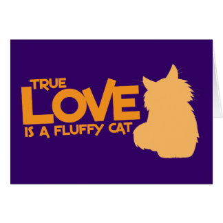 TRUE LOVE is a fluffy cat Greeting Card