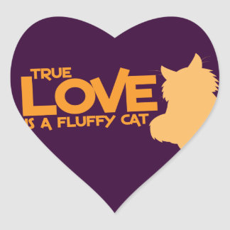 TRUE LOVE is a fluffy cat Heart Sticker