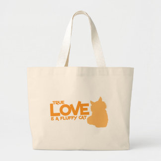 TRUE LOVE is a fluffy cat Large Tote Bag