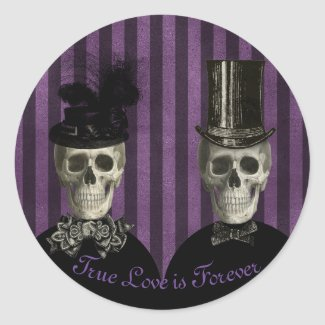 True Love is Forever Skeleton Couple Classic Round Sticker