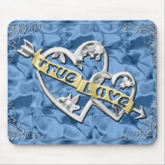 True Love Joined Hearts Blue Mouse Pad