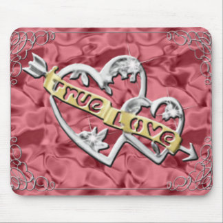True Love Joined Hearts Red Mouse Pad