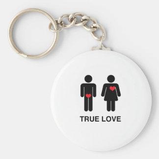 True Love Basic Round Button Keychain