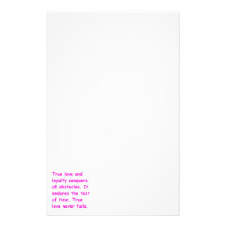 TRUE LOVE LOYALTY CONQUERS ALL OBSTACLES STANDS TH STATIONERY PAPER