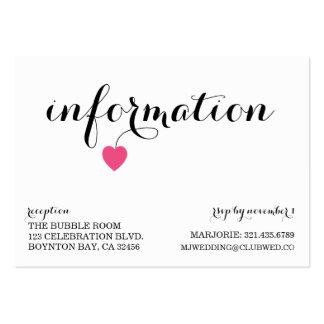true love MODERN WEDDING info card CANDY