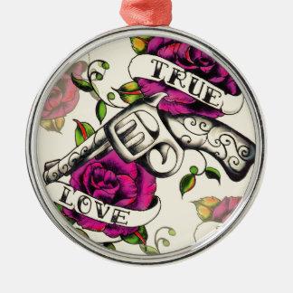 True Love Old school pistol tattoo art. Metal Ornament